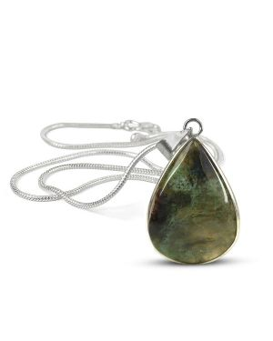 AAA Quality Moss Agate Drop Shape Pendant With Metal Silver Polished Chain