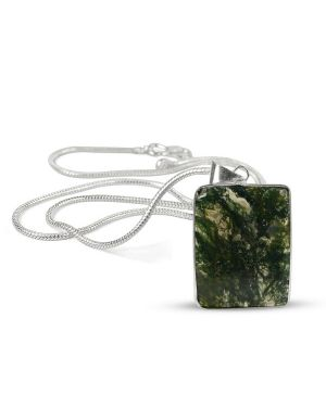AAA Quality Moss Agate Square Pendant With Silver Polished Metal Chain