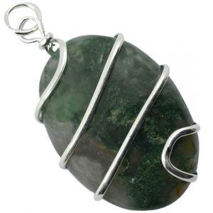 Moss Agate Oval Wire Wrapped Pendant