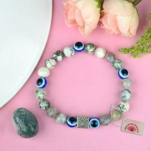 Natural Moss Agate with Evil Eye 8 mm Beads Bracelet