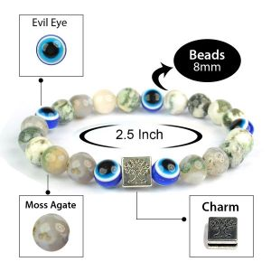 Moss Agate with Evil Eye 8 mm Bead Charm Bracelet