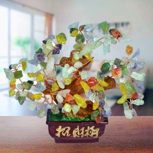 Reiki Crystal Products Feng Shui Natural Multi Crystal Tree Place for Good Luck, Education, Protection and Prosperity All Chakra (Color : Multi)