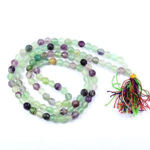 Multi Flourite 8 mm Diamond Cut Mala & Necklace