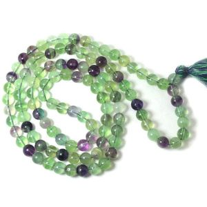 Multi Fluorite 8 mm Round Bead Mala & Necklace (108 Beads & 32 Inch Approx)