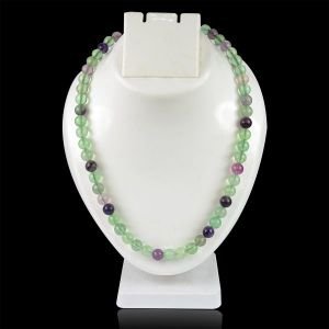 Multi Flourite 8 mm Round Bead Mala & Necklace (108 Beads & 32 Inch Approx)