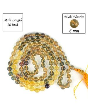 Multi Fluorite 6 mm 108 Round Bead Mala