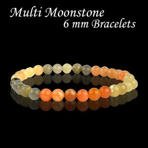 Multi Moonstone 6 mm Round Bead Bracelet