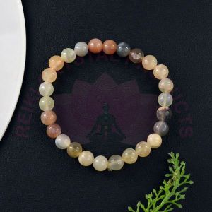 Multi Moonstone 8 mm Round Bead Bracelet
