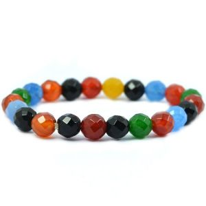 Multi Onyx 8 mm Faceted Bracelet