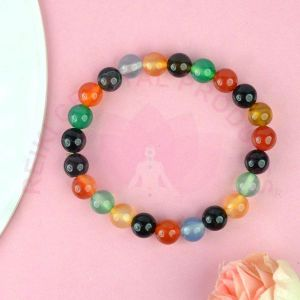 Multi Onyx 8 mm Round Bead Bracelet