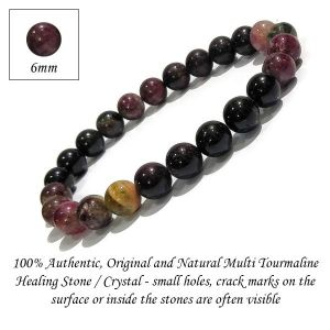 Natural Multi Tourmaline 6 mm Round Beads Bracelet