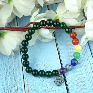 Green Aventurine Bracelet with Hanging Om Charm 8 mm Round Beads Bracelet