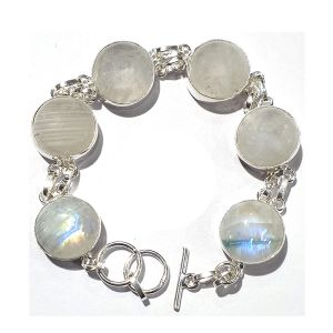 Rainbow Moonstone Bracelet German Silver Bracelet Adjustable and Flexible Length (Color : White & Silver)