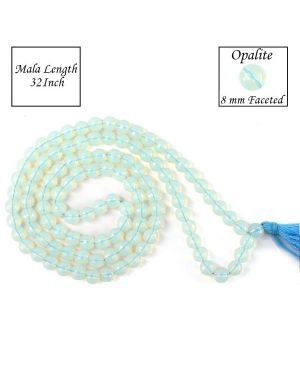 Opalite 8 mm Faceted Bead Mala
