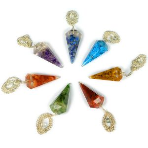7 Chakra Orgone Dowser/Pendulum Set of 7 pc for Reiki Healing