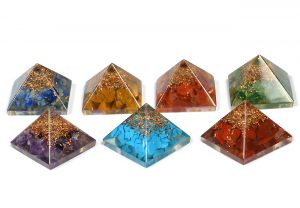 7 Chakra Orgone Pyramid Set of 7 pc Size 25-30 mm for Reiki Healing