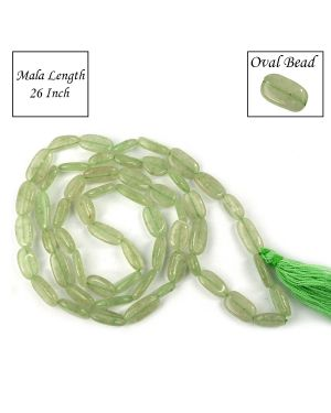 Green Jade Oval Bead Mala