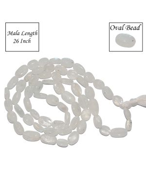 Rainbow Moonstone Oval Bead Mala