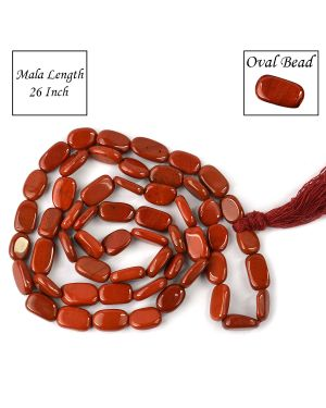 Red Jasper Oval Bead Mala