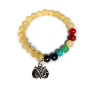 Golden Quartz with 7 Chakra Owl Hanging Charm Bracelet
