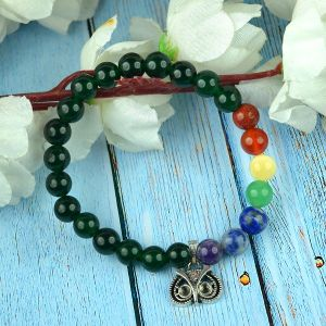 Green Aventurine Bracelet with Hanging Owl Head Charm 8 mm Round Beads Bracelet