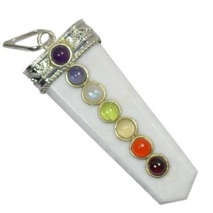 White Agate With 7 Chakra Flat Stick Pendant