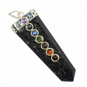 Black Tourmaline With 7 Chakra Flat Stick Pendant