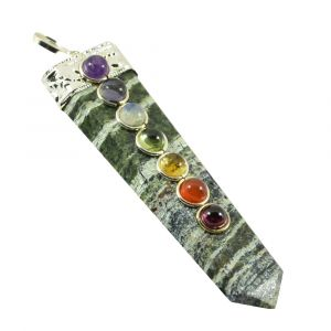 Tree Agate With 7 Chakra Flat Stick Pendant