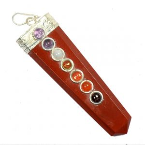 Red Jasper With 7 Chakra Flat Stick Pendant
