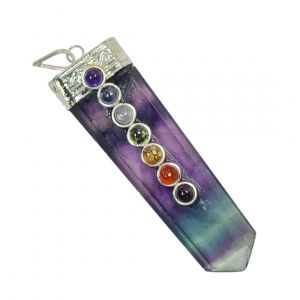 Purple Flourite With 7 Chakra Flat Stick Pendant