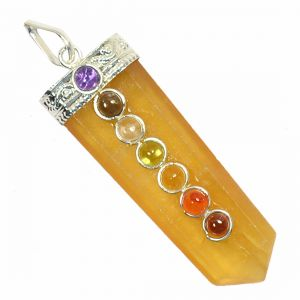 Yellow Flourite With 7 Chakra Flat Stick Pendant
