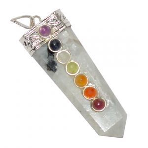 Rainbow Moonstone With 7 Chakra Flat Stick Pendant