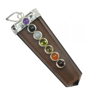 Smoky Quartz With 7 Chakra Flat Stick Pendant