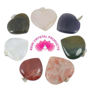 Heart Shaped Medium on Various Stones Pendant 10 pc Set (Mix Stones)