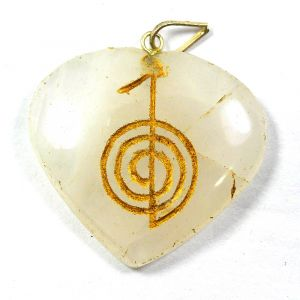 White Agate Heart shaped cho ku rei Pendant