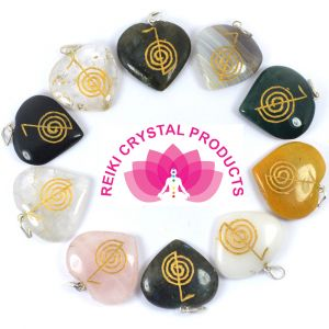 Cho Ku Ray Heart Shaped on Various Stones Pendant 5 pc Set (Mix Stones)