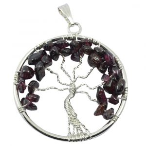 Garnet Metal Tree of Life Pendant