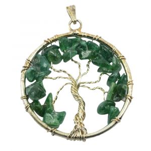 Green Aventurine Tree of Life Pendant with Silver Polished Metal Chain