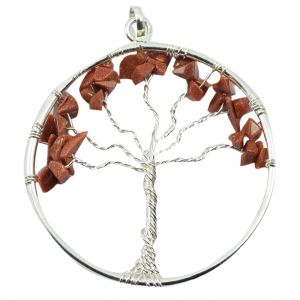 Goldstone Brown Tree of Life Pendant with Silver Polished Metal Chain