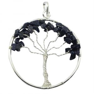 Goldstone Blue Tree of Life Pendant with Silver Polished Metal Chain