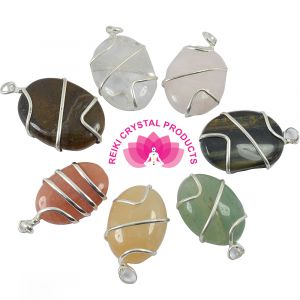 Oval Shaped Wire Wrapped on Various Stones Pendant 5 pc Set (Mix Stones)