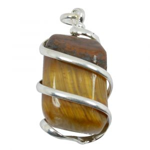 Tiger Eye Natural Wire Wrapped Pendant with Silver Polished Chain