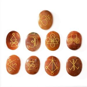 Peach Aventurine Karuna Reiki Symbol Engraved Set of 9 pcs