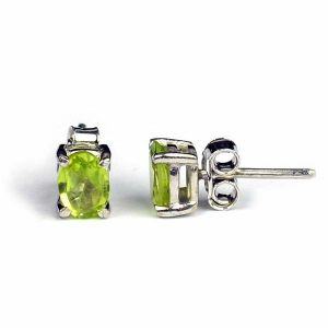 Peridot  92.5 Sterling Silver Earrings Gemstone Earrings (Color : Green & Silver)