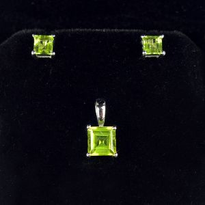 Reiki Crystal Products 925 Sterling Silver Pendant with Earring Peridot Gemstone Pendant Earring Set Silver Jewelry Set for Women Girls (Color : Green & Silver)