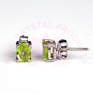 Silver Stud/Earring Peridot Gemstone for Women Girls
