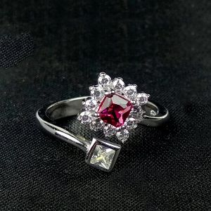 Reiki Crystal Products 925 Sterling Silver Ring Red Square Crystal Ring Silver Adjustable Ring for Girls Women
