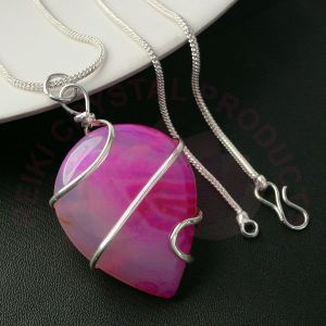 Pink Onyx Oval Wire Wrapped Pendants