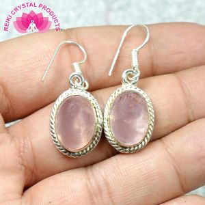 Rose Quartz Earring Crystal / Stone Oval Shape