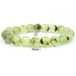 Phrenite 8 mm Round Bead Bracelet